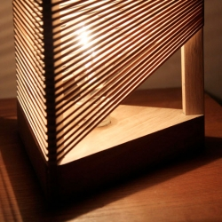 The Delta Lamp from Thibaut Malet made from 5 pieces of wood and 60 elastic bands (assemble it as you wish). The packaging is beautiful!