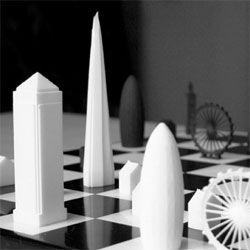 The London skyline transformed into a chess set in the Skyline Chess Set by Ian Flood & Chris Prosser.