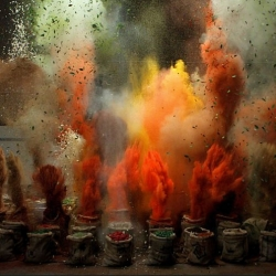 A literal explosion of flavor! Several tons of black peppercorns, cardamom, turmeric, paprika, cumin seeds, ginger, chilli and coriander were rigged to explode in perfect sync with a bespoke musical composition by Grey London for Schwartz.