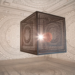 Anila Quayyum Agha's beautifully carved wooden cube, Intersections, and its incredible shadows.
