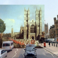 Great series of composite images of London then and now, combining modern photos with paintings of London past.