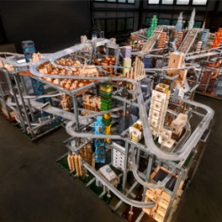 Chris Burden's Metropolis II at the Los Angeles County Museum of Art. The installation is an intense kinetic sculpture, modeled after a fast paced, frenetic modern city with nearly 100,000 cars racing through at 240 scale miles per hour.
