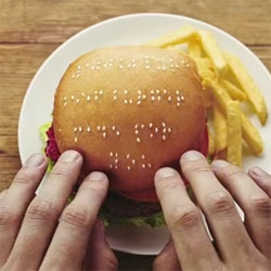 Wimpy uses sesame seeds to create braille messages on the top of their burgers. Great campaign from creative director Wes Phelan.