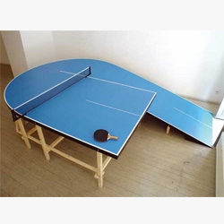 Great series of not so  traditional pingpong tables, basketball hoops, tennis courts, dart boards and more. By Laurent Perbos.
