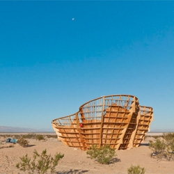 Yucca Crater, a temporary space in California's Mojave Desert designed by Ball-Nogues Studio for High Desert Test Sites.