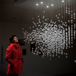 Valerie, My Crystal Sister by Lucas Maassen + Roche. Another stunning project from Confrontations at Vitra Design Museum. The chandelier is based on Maassen's own DNA!