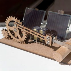 Alex Weber's 'Almost Useless Machine', a solar-powered dowel cutter.