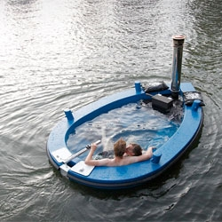 More hot tub boats! The Hot Tug is a wood-fired hot tub in which you can sail and a tugboat in which you can enjoy warm baths.