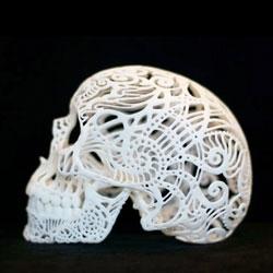 The Etsy blog short stories on Joshua Harker's 3D printed Filigree Skulls.