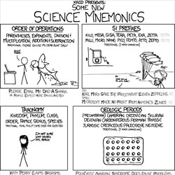 XKCD's new science mnemonics. 'Please Email My Dad A Shark' should make remembering the order of operations a breeze.