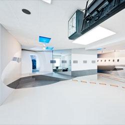 The simmINN Flight Simulation Center in Stuttgart, Germany designed by architect Boris Banozic.