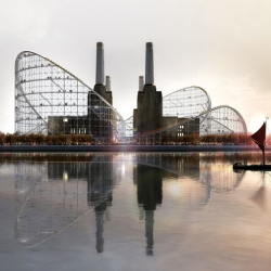 Atelier Zündel Cristea's proposal to surround London's Battersea Power Station with a rollercoaster.