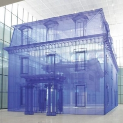 Do Ho Suh's Home Within Home Within Home Within Home Within Home at Seoul's National Museum of Modern and Contemporary Art. The installation made from silk threads looks like a 3D blueprint.