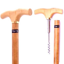 Multitasking... if you're going to carry a cane, might as well have a corkscrew in it? Maple Wood, imported from France