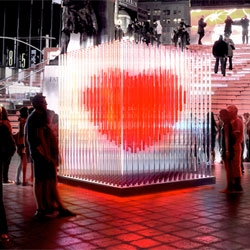 BIG (bjarke ingles group) created this year's Valentine's day sculpture 'BIG(heart)NYC' for Duffy Square. 400 transparent LED acrylic tubes envelop a large red heart at the center.