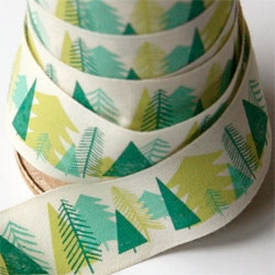 Pretty Christmas themed printed ribbons from Alice Pattullo.