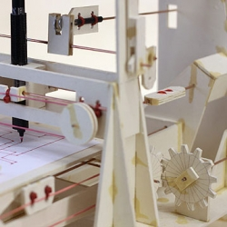 Niklas Roy's latest project, the Cardboard Plotter, a plotting machine made from cardboard.