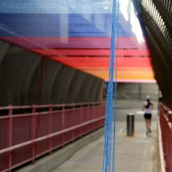Rituals, an installation by Minneapolis-based street artist HOTTEA above the pedestrian walkway of the Williamsburg Bridge.