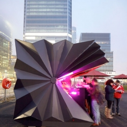 Origami inspired prefab metal kiosks from Make Architects for the London Ice Sculpting Festival.