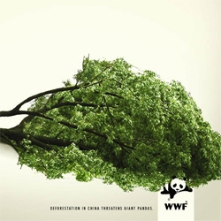 "Very clever new ad from the advertising and design agency The Name, out of Rome. ""Deforestation in China threatens  giant pandas."""