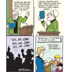 "Doonesbury ~ where politics and comics are mixing, this recent thread on the ""Poetry of Barack Obama"" and ""The Prose of Hillary Clinton"" classes causing a stir on the fictitious Walden campus are quite amusing."