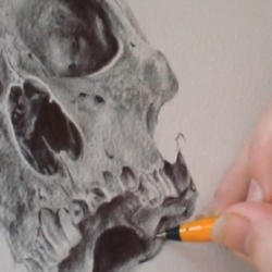 Watch as Peter Alexander Thornton draws an amazingly detailed and well ornamented skull, and enjoy the classical guitar playing in the background too. After all, he made that as well!