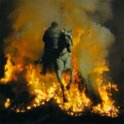 Stunning video of horses as they leap through fire at the Luminarias fiesta in San Bartolomé de Pinares in Spain.