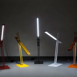 Cantilevered Desk Lamp, the sculptural steel skeleton houses a long life, low energy LED bar in its pivoting arm, providing dimmable light from any angle. Designed, constructed by Taylor Donsker, Los Angeles.