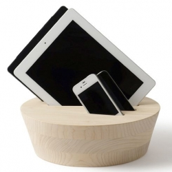 Interesting KINODAI holder for your tech, holding charging cables and acting as a stand for your devices.