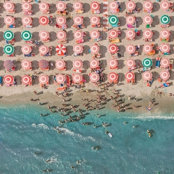 Bernhard Lang's aerial photos capture the organized beauty of the Italian Beach Resort, Adria.
