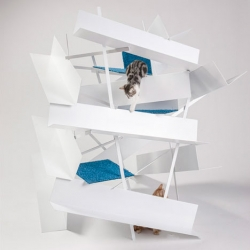 "Architecture for cats. To raise funds for animal charity FixNation, LA based architects created a series of cat houses for a ""Giving Shelter"" fundraiser."