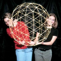 A large sphere kit from Ikoso, a build your own 30″ diameter geodesic sphere with glow in the dark connectors.