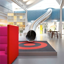 Great fire escape slide at the Lego office in Denmark by Rosan Bosch and Rune Fjord.