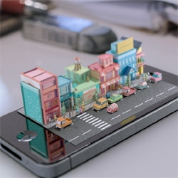 Adorable iphone diorama from Michael Ko.