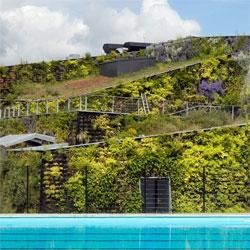 VenhoevenCS architecture's Sportplaza Mercator, a beautiful complex covered in plants.