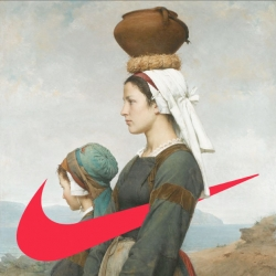Classical masterpieces get an added Nike Swoosh at the swooshart tumblr.