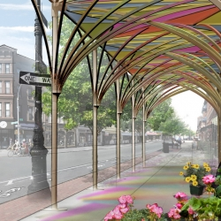 New York City's first re-design of sidewalk sheds since the 1950s, besides being aesthetically pretty, creates wider sidewalk area for pedestrians, and reduces construction impacts on businesses.