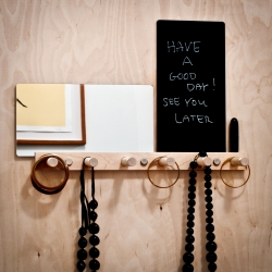 Vanity Coat Rack with six pegs in maple wood, a mirror, and black or white message board. Design by Jonathan Dorthe for Atelier-D.