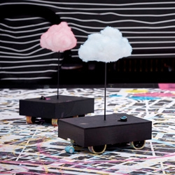 Remote controlled painting clouds in the performance realized by Nevercrew & Chromeo for the Volvo Art Session 2015 in Zurich.