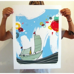 Print called The Voyage from Erik Otto. Limited edition of 100 6 color screen print