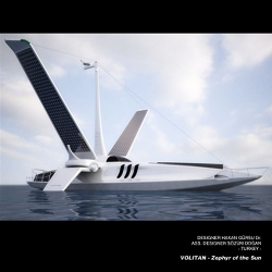 """Volitan"""" is a new lightweight and futuristic concept boat for circumnavigating the rivers and seas, using solid-sails and only wind power and solar energy.Her name comes from """"flying fish"""" and she is a new symbol of raising awareness about sustainable use of resources on the sea."""