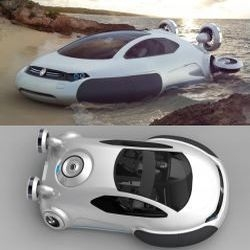 VW Aqua forgoes routine tracks to hover above the terrain and can easily maneuver on lakes, rivers and coastal waters, to the roads, wetlands and snow and ice alike. Concept by Yuhan Zhang.