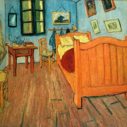 "Computer-generated and real life recreations of the room in Vincent van Gogh's famous ""Bedroom in Arles"" painting. Its also interesting to know that there are 3 authentic versions of this painting."