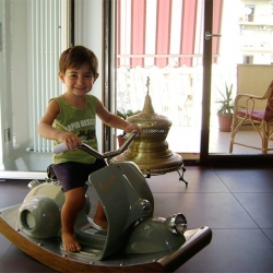 What do you do with an old Vespa motorcycle? Turn it into a Vespa Rocking Horse of course.