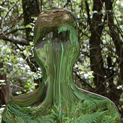 Sculptor Rob Mulholland's ghostly installation 'Vestige' in the Scottish woodlands.