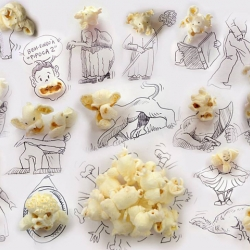 Sketches made with everyday objects such as popcorn, scissors, nuts, coffee mugs, and more by Victor Nunes