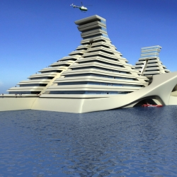 Oceanic-Creations plans to create floating  hotels of a plastic composite  The $209M prototype, at this stage called Maya, is being constructed in Bulgaria and will be towed to Cancun.