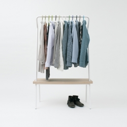 The Bench Rack by Vik & Fougere is an answer to the lack of closet and storage space in the average apartment.