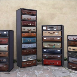 Drawers made from real vintage suitcases by English designer James Plumb.
