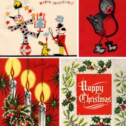 A collection of vintage Christmas cards from the 60's.